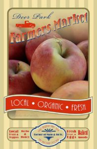 Farmers Market poster with close up on apples