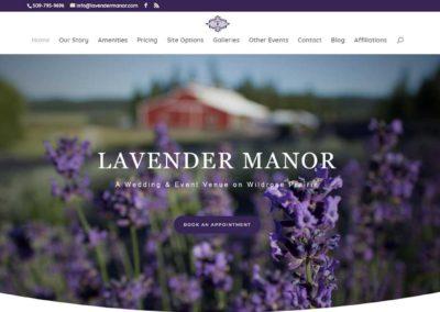 Lavender Manor website above the fold