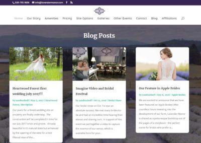 Blog section of Lavender Manor website