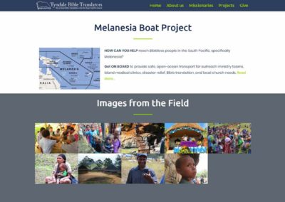 Tyndale Bible Translators website - Melanesia Boat and gallery section