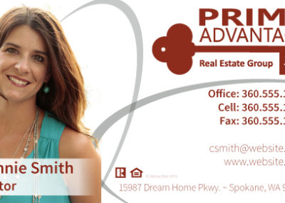 Business card for Prime Advantage Real Estate Group