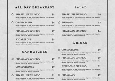 Table and Chair menu - back