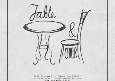 Table and Chair menu - front