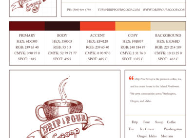 Brand standards for Drip, Pour, Scoop