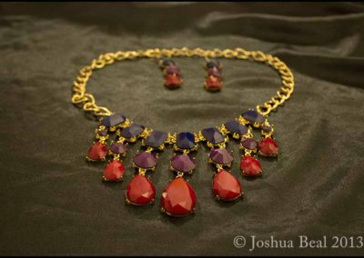 Necklace with purple and red