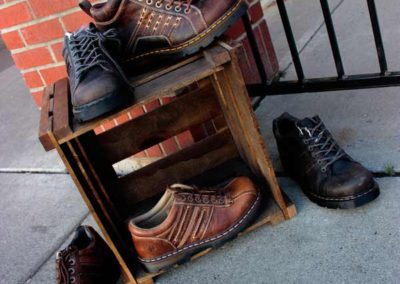 Mens shoes on a crate