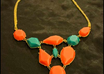 Necklace with salmon and teal