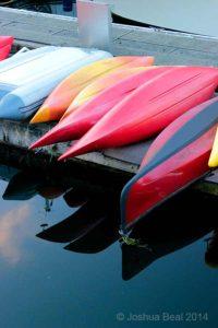 Kayaks on a pier