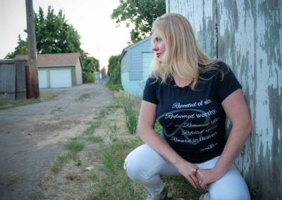 "Model in ""Re"" shirt design"