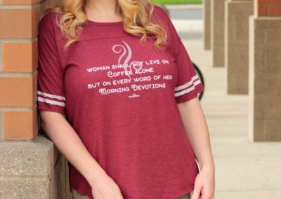 """Model in """"Woman Shall Not Live On Coffee Alone"""" - shirt design"""