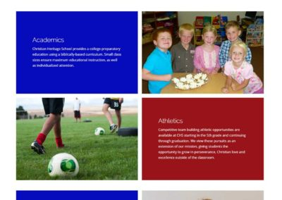 School features section for Christian Heritage School website