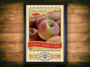 Poster for Deer Park Farmers Market in frame with wood background