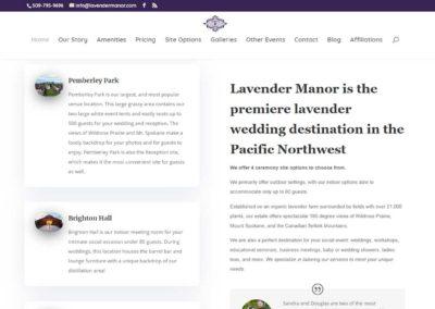 Destination description on Lavender Manor Website