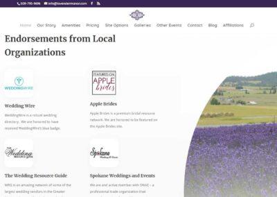 Endorsements section of Lavender Manor website