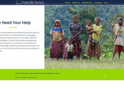 Tyndale Bible Translators website - serving section