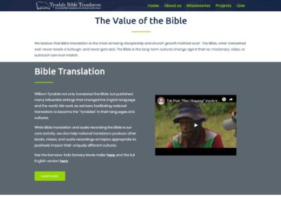 Tyndale Bible Translators website - translation section