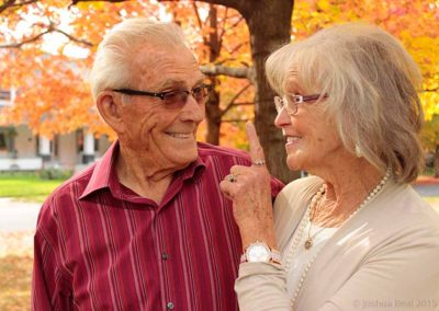 Elderly couple in a teasing moment
