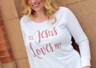 """Model in """"Yes, Jesus Loves Me!"""" shirt design (2)"""