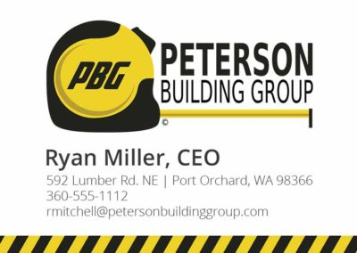 Business card for Peterson Building Group