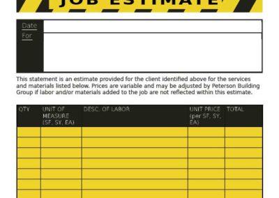 Peterson Building Group estimate form