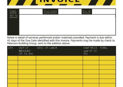 Peterson Building Group invoice form