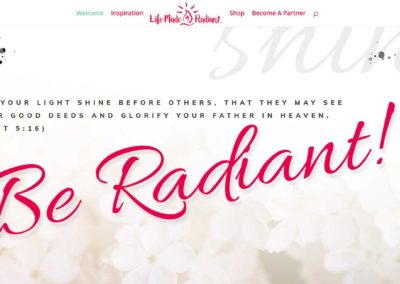 Life Made Radiant website above the fold