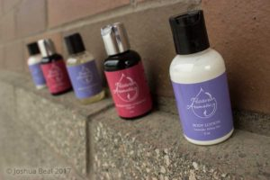 Body care products on a brick row