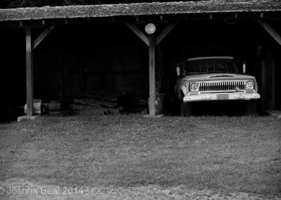 Truck in shed