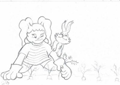 Pencil sketching process for page 28 of Susie Sunny And Her Little Bunny