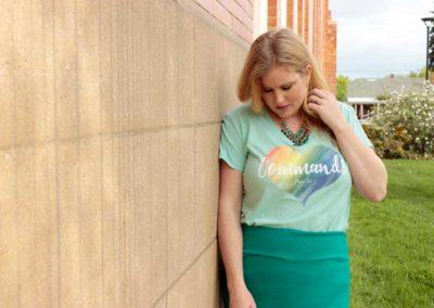 "Model in ""Commands on Heart"" shirt design"